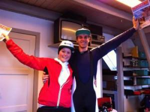 Stolte vindere: Amalie Watt Sundstrup og Morten Hugener Nielsen.