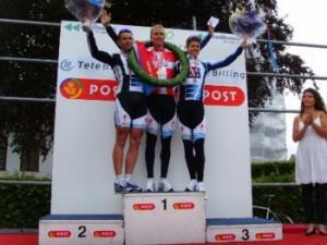 DM Enkeltstart, Herre Elite. Fra venstre: Alex Rasmussen, Lars Bak og Jakob Fuglsang