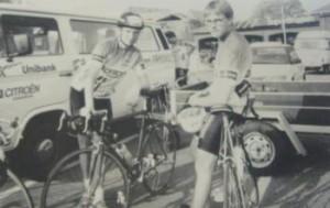 Jens Lausten Hansen og Morten Hansen. Her ved gadeløbet i Bov 1992.